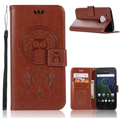 Intricate Embossing Owl Campanula Leather Wallet Case for Motorola Moto G5 Plus - Brown