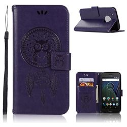 Intricate Embossing Owl Campanula Leather Wallet Case for Motorola Moto G5 Plus - Purple