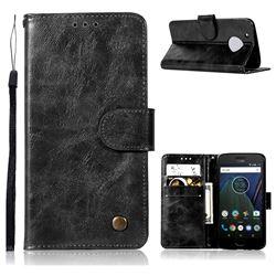 Luxury Retro Leather Wallet Case for Motorola Moto G5 Plus - Black
