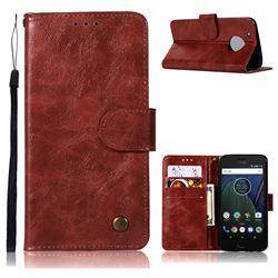 Luxury Retro Leather Wallet Case for Motorola Moto G5 Plus - Wine Red