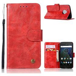 Luxury Retro Leather Wallet Case for Motorola Moto G5 Plus - Red