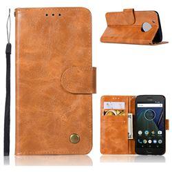 Luxury Retro Leather Wallet Case for Motorola Moto G5 Plus - Golden