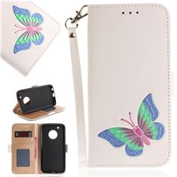 Imprint Embossing Butterfly Leather Wallet Case for Motorola Moto G5 Plus - White