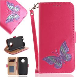 Imprint Embossing Butterfly Leather Wallet Case for Motorola Moto G5 Plus - Rose Red