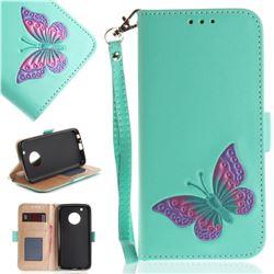 Imprint Embossing Butterfly Leather Wallet Case for Motorola Moto G5 Plus - Mint Green