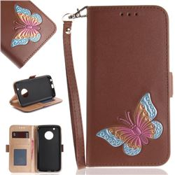 Imprint Embossing Butterfly Leather Wallet Case for Motorola Moto G5 Plus - Brown