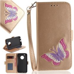 Imprint Embossing Butterfly Leather Wallet Case for Motorola Moto G5 Plus - Golden