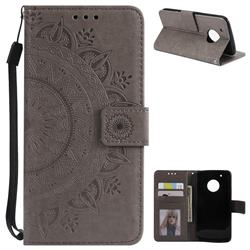 Intricate Embossing Datura Leather Wallet Case for Motorola Moto G5 Plus - Gray