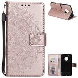 Intricate Embossing Datura Leather Wallet Case for Motorola Moto G5 Plus - Rose Gold