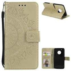Intricate Embossing Datura Leather Wallet Case for Motorola Moto G5 Plus - Golden