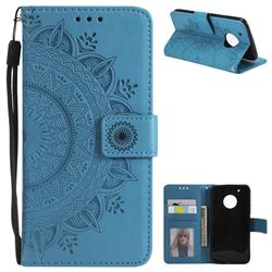Intricate Embossing Datura Leather Wallet Case for Motorola Moto G5 Plus - Blue