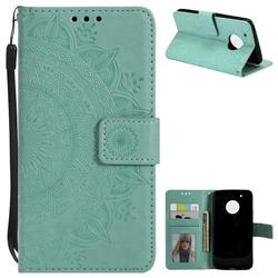 Intricate Embossing Datura Leather Wallet Case for Motorola Moto G5 Plus - Mint Green