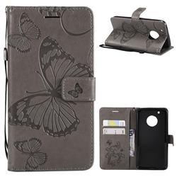 Embossing 3D Butterfly Leather Wallet Case for Motorola Moto G5 Plus - Gray
