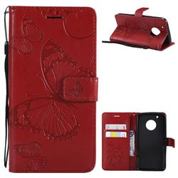 Embossing 3D Butterfly Leather Wallet Case for Motorola Moto G5 Plus - Red
