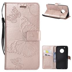 Embossing 3D Butterfly Leather Wallet Case for Motorola Moto G5 Plus - Rose Gold