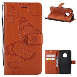 Embossing 3D Butterfly Leather Wallet Case for Motorola Moto G5 Plus - Orange
