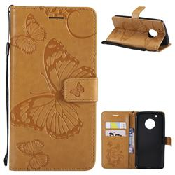 Embossing 3D Butterfly Leather Wallet Case for Motorola Moto G5 Plus - Yellow