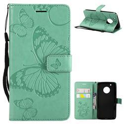 Embossing 3D Butterfly Leather Wallet Case for Motorola Moto G5 Plus - Green
