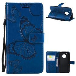 Embossing 3D Butterfly Leather Wallet Case for Motorola Moto G5 Plus - Blue
