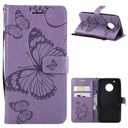 Embossing 3D Butterfly Leather Wallet Case for Motorola Moto G5 Plus - Purple