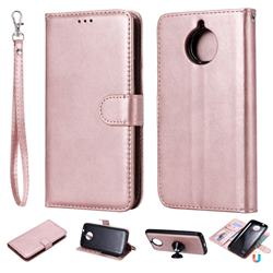 Retro Greek Detachable Magnetic PU Leather Wallet Phone Case for Motorola Moto G5 Plus - Rose Gold