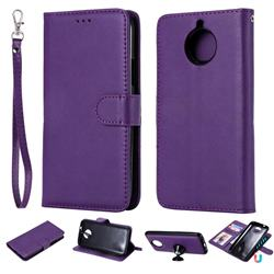 Retro Greek Detachable Magnetic PU Leather Wallet Phone Case for Motorola Moto G5 Plus - Purple