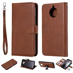 Retro Greek Detachable Magnetic PU Leather Wallet Phone Case for Motorola Moto G5 Plus - Brown