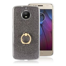 Luxury Soft TPU Glitter Back Ring Cover with 360 Rotate Finger Holder Buckle for Motorola Moto G5S - Black