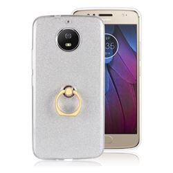 Luxury Soft TPU Glitter Back Ring Cover with 360 Rotate Finger Holder Buckle for Motorola Moto G5S - White
