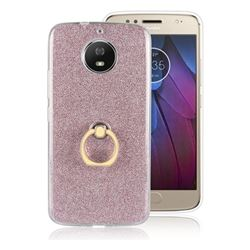 Luxury Soft TPU Glitter Back Ring Cover with 360 Rotate Finger Holder Buckle for Motorola Moto G5S - Pink