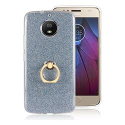 Luxury Soft TPU Glitter Back Ring Cover with 360 Rotate Finger Holder Buckle for Motorola Moto G5S - Blue