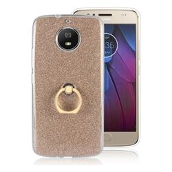 Luxury Soft TPU Glitter Back Ring Cover with 360 Rotate Finger Holder Buckle for Motorola Moto G5S - Golden