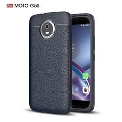 Luxury Auto Focus Litchi Texture Silicone TPU Back Cover for Motorola Moto G5S - Dark Blue