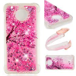 Pink Cherry Blossom Dynamic Liquid Glitter Sand Quicksand Star TPU Case for Motorola Moto G5S