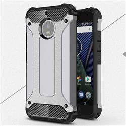King Kong Armor Premium Shockproof Dual Layer Rugged Hard Cover for Motorola Moto G5S - Silver Grey