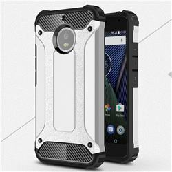 King Kong Armor Premium Shockproof Dual Layer Rugged Hard Cover for Motorola Moto G5S - Technology Silver