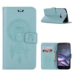 Intricate Embossing Owl Campanula Leather Wallet Case for Motorola Moto G5S - Green