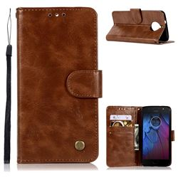 Luxury Retro Leather Wallet Case for Motorola Moto G5S - Brown