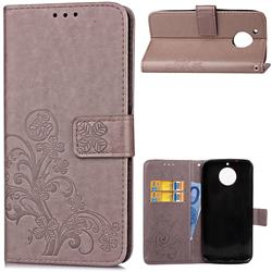 Embossing Imprint Four-Leaf Clover Leather Wallet Case for Motorola Moto G5S - Grey