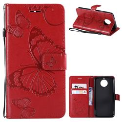 Embossing 3D Butterfly Leather Wallet Case for Motorola Moto G5S - Red