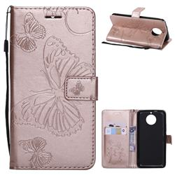 Embossing 3D Butterfly Leather Wallet Case for Motorola Moto G5S - Rose Gold