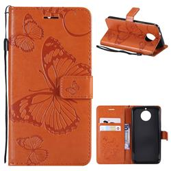 Embossing 3D Butterfly Leather Wallet Case for Motorola Moto G5S - Orange