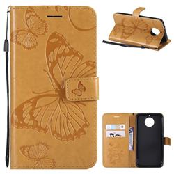 Embossing 3D Butterfly Leather Wallet Case for Motorola Moto G5S - Yellow