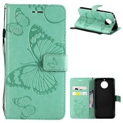 Embossing 3D Butterfly Leather Wallet Case for Motorola Moto G5S - Green