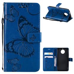 Embossing 3D Butterfly Leather Wallet Case for Motorola Moto G5S - Blue