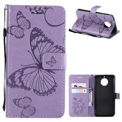 Embossing 3D Butterfly Leather Wallet Case for Motorola Moto G5S - Purple