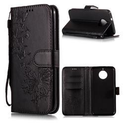 Intricate Embossing Dandelion Butterfly Leather Wallet Case for Motorola Moto G5S - Black