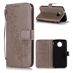 Intricate Embossing Dandelion Butterfly Leather Wallet Case for Motorola Moto G5S - Gray