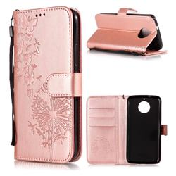 Intricate Embossing Dandelion Butterfly Leather Wallet Case for Motorola Moto G5S - Rose Gold
