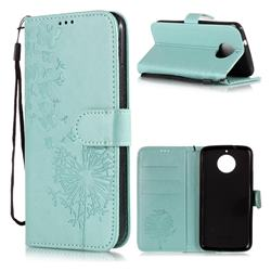 Intricate Embossing Dandelion Butterfly Leather Wallet Case for Motorola Moto G5S - Green